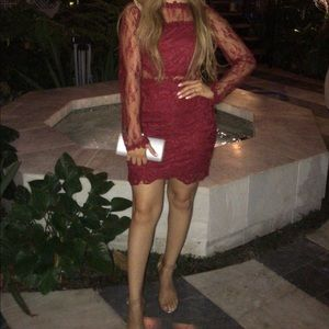 Wine red mini dress
